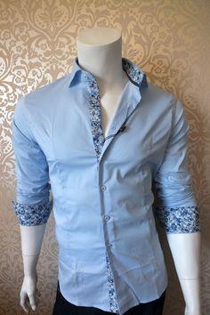 Camicia uomo slim fit aderente elasticizzata AZZURRA fiori floreale blu jeans | eBay