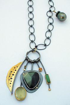 Green Labradorite Cluster necklace