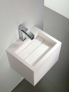 Yat, sink in Krion by Systempool with hidden drainage system _