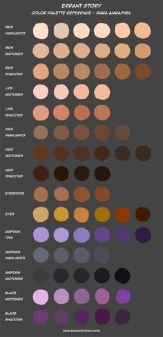 Color Palette Reference - Sara by ImpChan on DeviantArt Skin Color Paint, Skin Paint, Skin Color Chart, Color Mixing Chart, Mixing Paint Colors, Skin Color Palette, Palette Art, Digital Art Tutorial, Digital Painting Tutorials