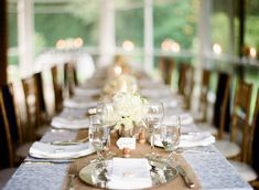 One long dinner table is perfect for a smaller affair, or make it work for a bigger event with several long tables. You don't have to stick with banquet rounds!