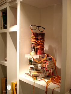 Reuse Book, thread, rope and yard to make an eyewear with found objects.  pinned by Ton van der Veer