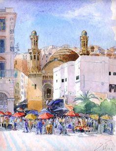 Alger, Ketchaoua et place des Martyrs - Peinture,  50x40 cm ©2010 par Catherine Rossi -