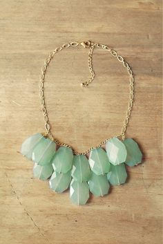 Aqua Mint Statement Necklace  Mint Bib Necklace di ShopNestled, $42.00