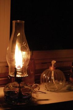 Oil lamp, when I was a child we liked when the electricity went out and Mom brought out the oil lamps.  Found memories.