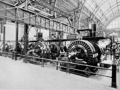 Alternating Current Power Plant at World's Fair, Chicago, 1893.  Four of the twelve 1000 horse-power two-phase generators