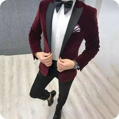 Quality Burgundy Velvet Prom Suits Smoking Jacket Men Wedding Suits Black Peaked Lapel Groom Tuxedos Slim Fit Terno Masculino with free worldwide shipping on AliExpress Mobile Red Tuxedo, Groom Tuxedo, Tuxedo For Men, Black Suit Wedding, Wedding Dress Men, Wedding Men, Wedding Suits, Wedding Groom, Men's Clothing