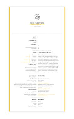 Self Promotion  Identity, Letter, Business Card, CV & Websites    I liked the idea of a signature indicating that I am proud of my work, and willing to put my name to it. The bright yellow colour signifies a fresh designer, soon out of university, and one that would stand out amongst the crowd.