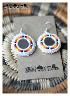 Native American Beaded Mirror Earrings by crystaltewa on Etsy.  www.crystaltewa.etsy.com Creative Native Boutique.
