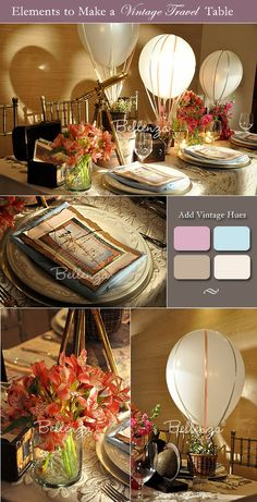 Table decorations for a vintage travel theme.