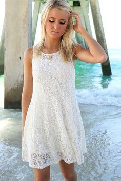 Beach Sunset Cream Lace Sleeveless Shift Dress – Amazing Lace
