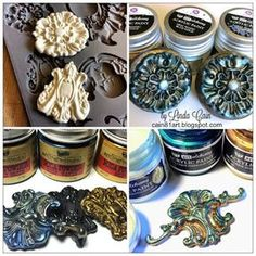 FRIENDS in ART: Creating Decorative Embellishments with Art Alchemy Paints. Should you enjoy arts and crafts you'll will love this cool site! Greats tips by Linda Cain right here!Pin by Vintage Shabby Bliss on Iron Orchid Design DIY tJust thought I& Clay Projects, Clay Crafts, Arts And Crafts, Plaster Art, Plaster Molds, Decoration Vitrine, Retro Cafe, Iron Orchid Designs, Cafe Art