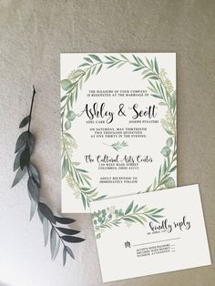 Whimsical simple greenery wedding invitations by @Unicaforma_ Neutral colors make this invitation work for any wedding! eucalyptus leaves!