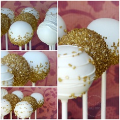 Gold 50th Anniversary Cake Pops. Great for any celebration, Christmas, etc.