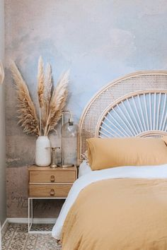 The dreamiest watercolour cloud wallpaper for a bohemian bedroom. Filled with pampas, woven and wooden decor and linen sheets ✨ dreamy wallpaper, dreamy bedroom, bohemian decor. Room Ideas Bedroom, Dream Bedroom, Home Decor Bedroom, Bedroom Decor Wallpaper, Peaceful Bedroom, Bed Room, Wall Paper Bedroom, Bedroom Decorating Ideas, Cloud Bedroom