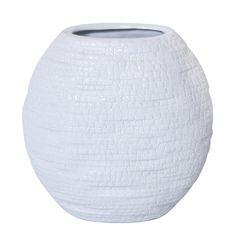 Vase rond en céramique blanche 7.5x7.5''