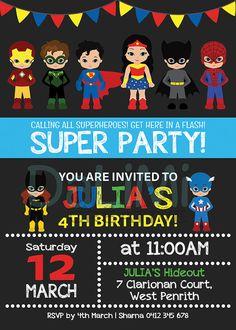 Superhero Invitation  Superhero Birthday Invitation  Unisex
