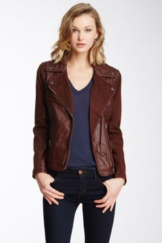 Members Only Cotton Twill & Faux Leather Asymmetrical Jacket