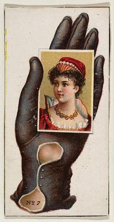 CLICK ON IMAGE TO GO TO SITE & MAKE VERY LARGE WITH GREAT DETAIL! Card Number 7, cut-out from banner advertising the Opera Gloves series (G29) for Allen & Ginter Cigarettes