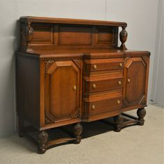 Oak Sideboard With Drawers Cupboards Grape Carvings Delivery Available