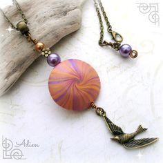 Orange and Purple Bird Necklace  £9.95