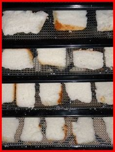 Dehydrate bread and angel food cake, plus more backing recipes: http://www.backpackingchef.com/making-bread-crumbs.html
