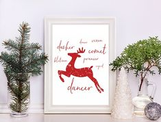 Download a free Christmas Printable, Santa's Reindeers. Frame and place in your front foyer!