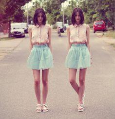 Skirt, H Shirt, Zara Sandals