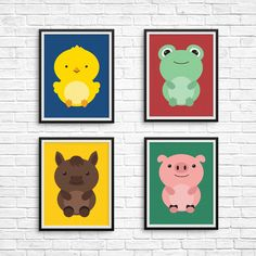 Farm Animal Nursery Print Set: chick, frog, horse, pig - Instant download