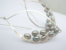 Large Silver Pearl Leaf Hoops by SarahHickeyJewellery on Etsy, $120.00