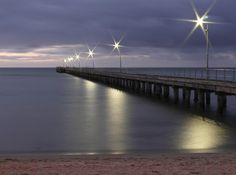 Rosebud Pier at night. (Rosebud is a sea side town on the Mornington Peninsula, Victoria - approximately 75 km southeast of the Melbourne City Centre) Melbourne Victoria, Victoria Australia, Sunset Pictures, Beach Pictures, Beauty Around The World, Around The Worlds, Continents And Countries, Outdoor Stairs, Beautiful Sunset