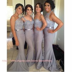 Cheap Bridesmaid Dresses - Discount Mermaid Long Bridesmaid Dress with One Shoulder Straps Sweetheart Halter Neck Sequined Top Gray Wedding ...