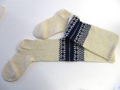 The Saarijärvi socks, traditional part of the Saarijärvi folk dress for men, Finland | Kansallispukujen valmiita osia -T:mi Soja Murto Birches, Folklore, Finland, Mythology, Knits, Socks, Costumes, Knitting, Clothes