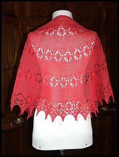"""""""A Slice of Autumn"""" knit lace shawl in wool fingering weight yarn (pattern by Kay Meadors)"""