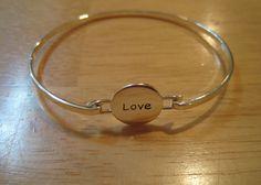 Inspirational~.925 Sterling Silver~Engraved Love Disc~Catch Bangle Bracelet #Inspirational #Bangle