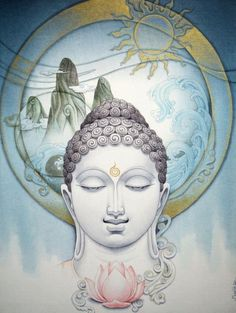 Buddha by Manish Verma Art Buddha, Buddha Zen, Buddha Painting, Gautama Buddha, Buddha Artwork, Buddha Lotus, Image Yoga, Art Zen, Guanyin