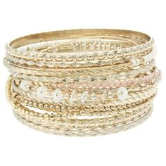 Lipsy Patterned Bangle Stack (€9,05) ❤ liked on Polyvore featuring jewelry, bracelets, accessories, bijoux, pulseras, gold, stacked gold bangles, hinged bracelet, hinged bangle and gold bangle bracelet