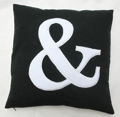 Ampersand throw pillow 20 inch black and by Comfyheavenpillows, $34.75