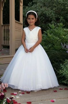 1560c2d6259 First Communion Dress with V Neck Matching Satin Jacket - Plus Size