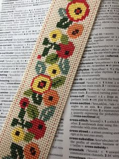 Cross Stitch Bookmark Flower Floral Vinyl Weave
