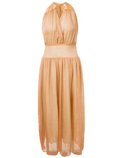 Sale 24% (29.58$) - Bohemian Halter V Neck Backless Bow Chiffon Women Beach Maxi Dress