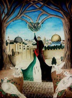 قبة الصخرة والمسجد الاقصى - لوحه من اعمال الفنانه لينا ابو جراده ..