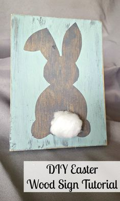 Super Cute and Easy DIY Easter Decor Signs - Leap of Faith Crafting - Spring Decor - Cricut Easter decor. Make easy and cute bunny signs with a Cricut or scis - Spring Decoration, Diy Easter Decorations, Diy Osterschmuck, Easy Diy, Simple Diy, Easter Projects, Easter Crafts, Easter Dyi, Easter Ideas