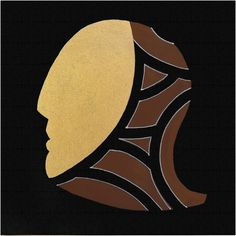"""andrea mattiello """"Maschera""""  acrilico e foglia oro su tela cm 20x20; 2013"""