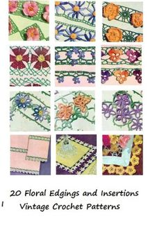 20 Vintage Crochet Floral Edgings and Insertions Patterns... Crochet Patterns (Amazon Link)