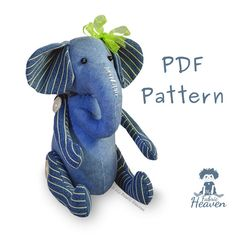 """Ella Elephant 10"""" PDF Sewing PATTERN Denim Soft Toy  Button Jointed Independent Design"""