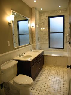 Brownstone Project: Master Bath - traditional - bathroom - new york - LM Designs  don't want vanity to end up like this...do want this toilet!