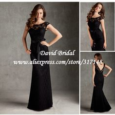 Floor Length Sheath Open Back Black Lace Bridesmaid Dresses Maid of Honor with Cap Sleeves NF766 $136.59
