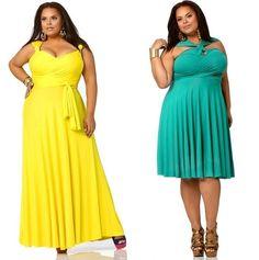 Длинное желтое платье, набор цветных браслетов, туфли на каблуках