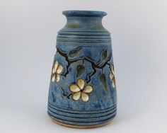 Vase with Carved Cherry Blossoms  French Blue by LomaPrietaPottery, $75.00
